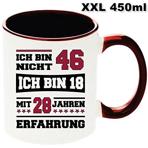 """Kastanienfarbige Tasse XXL 450ml zum Geburtstag """" Ich bin nicht 46 """". Jedes Alter verfügbar. Nur Original von DRUCK-DEINE-TASSE"""