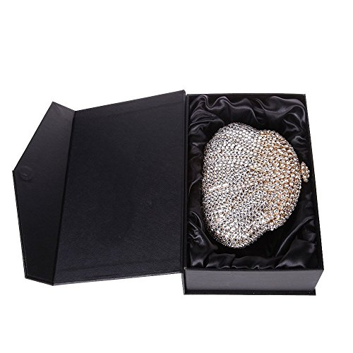 Santimon Clutch Delle Donne Calabash a Forma Strass Diamante Cristallo Borse Da Festa di Nozze Sera Con Tracolla Amovibile 3 Colori oro
