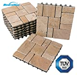 BodenMax Carreaux de sol en travertin en pierre naturelle Set 30 x 30 cm Carreaux de...