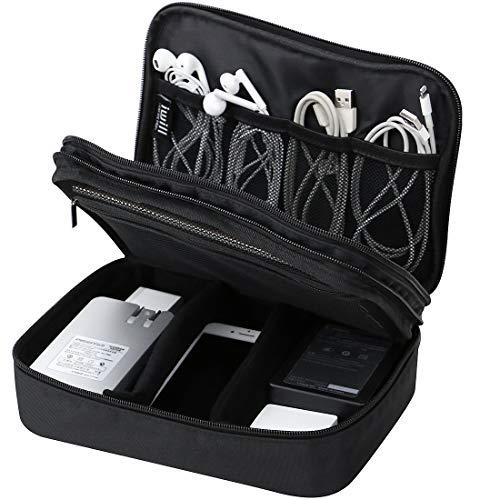 Estuche Impermeable para el Organizador de Accesorios electrónicos de 2 Capas, Bolsa de Gadget de Viaje para Cables, Memoria USB, Banco de energía, Auriculares, Disco Duro, etc.