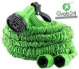 GYD Gartenschlauch Set Bewässerungsschlauch Automatik-Flexibler-Gartenschlauch 15m. ausgedehnt, grün