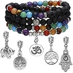 Jovivi 108 Perles Bracelet Mala 7 Pierre Chakras Naturelle Lave avec 5 Pendentifs Arbre de Vie Lotus Éléphant Yoga Om Perles d'Energie Pierre Précieuse Tibétain Bouddhiste Unisexe