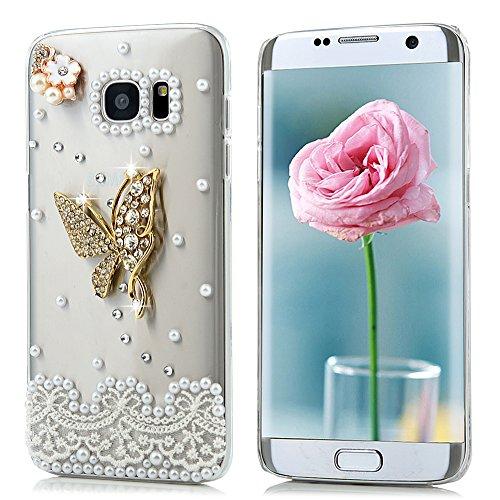 Mlorras Hülle für Samsung Galaxy S7 Edge DIY Diamant Glitzer Handyhülle Marble Schlank Hart PC Back Durchsichtig Bumper Handytasche Schutzhülle Back Cover Dünn-