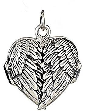 Eleganter Engelsflügel Herz Schutzengel Ketten-Anhänger / Medaillon für Fotos, Sterling Silber