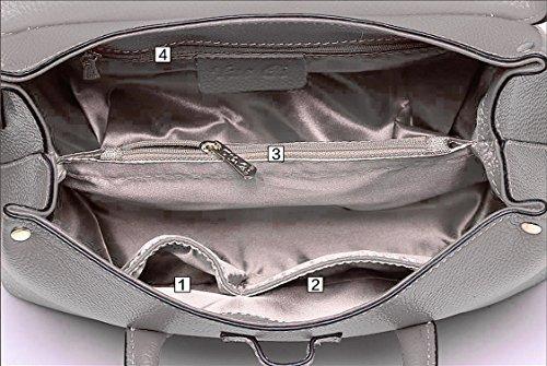 jieway di pelle per donna Custodia di pelle borsa sportiva per Donna Boston Borsa Borsa di spalla Blu navy