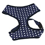 Sommer Atmungsaktives Hundegeschirr Brustgeschirr Sicherheitsweste Hunde Pet Control Gurt Weste Safety Weste aus Baumwolle Blau Sterne-Muster L