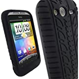 iGadgitz Black Silicone Skin Case Cover with Tyre Tread Design for HTC Wildfire S Android Smartphone Mobile Phone + Screen Protector