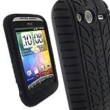 igadgitz Silikon Schutzhülle Hülle Tasche Etui Case Skin in Schwarz mit Reifenprofil design für HTC Wildfire S + Displayschutzfolie