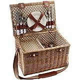 JD Diffusion C5649- Cesta de picnic para 4personas, mimbre, 22x 58x 38cm, multicolor