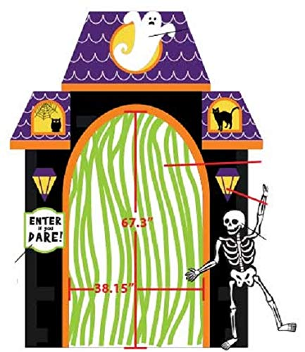 ProductWorks 84008 Aufblasbares Halloween-Display mit Spukhaus, Motiv Town Spooky Haunted House, 2,4 m