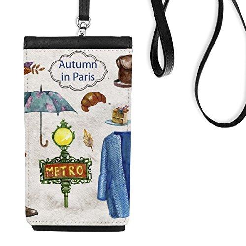 DIYthinker Kleid Regenschirm Frankreich Mark Zeichen Nationalflagge Architektur Gewohnheit Landschaft Illustration Muster-Leder-Smartphone hängende Handtasche Schwarze Phone Wallet