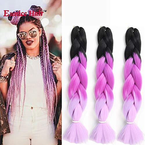 6packs eunice hair jumbo licheni hair extensions colorful capelli sintetici kanekalon artigianali per capelli per crochet box trecce ombre 2tone color 100g/pc 61cm