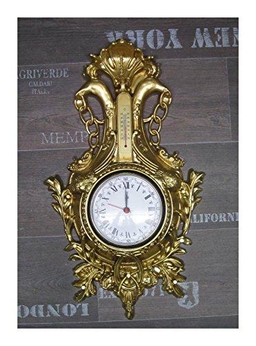 Wanduhr Uhr Schwan in Gold mit Thermometer Antik Barock look 38x65cm Quarz uhr NEU
