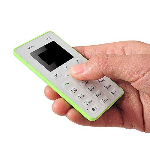 Minitelefon,YULAND Karte Handy 4,5 mm ultradünne Tasche Mini Phone M5 Wecker (Grün)