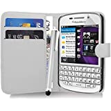 Blackberry Q10 - Premium Leather Wallet Flip Case Cover Pouch + Screen Protector With Microfibre Polishing Cloth + Touch Screen Stylus Pen By CCUK