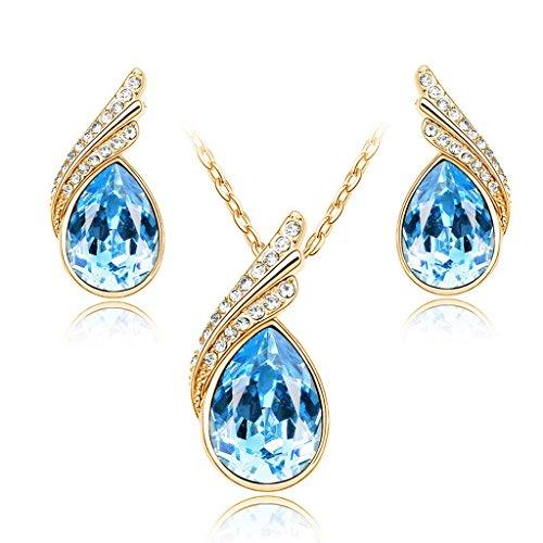 Damen Schmuck Set Kette Halskette mit Anhänger Ohrringe Ohrstecker Zirkonia Tropfen Flügel Geschenk Strass Kristall Gold-Aquamarin