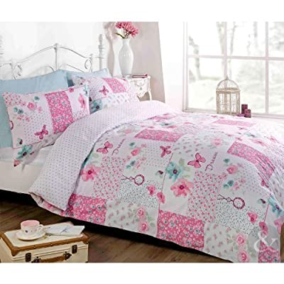 Floral Patchwork Shabby Chic Duvet Cover - Butterfly Reversible Bedding Bed Set - cheap UK light store.
