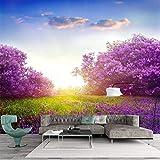 Carta Da Parati Personalizzata Foto 3D Per Il Murale Di Parete Moderna Alba Viola Foral Paesaggio Sfondi Murali Per Soggiorno Hall Decorazione Di Mobili (W)300x(H)210cm