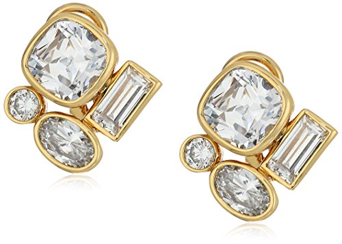 nicole-miller-mixed-cushion-gold-clear-stud-earrings