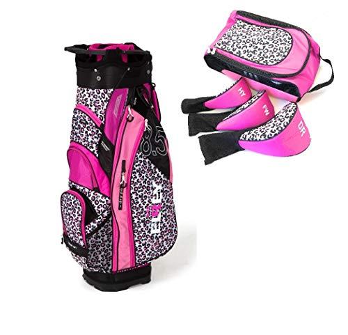 Golf Tasche Wasserabweisend Mit Schuhe Tasche und Headcovers (Driver/Holz/Hybrid) Regenschutz 9 Fächer Panther Print Caddybag