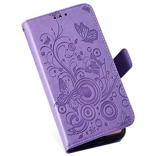 MoreChioce kompatibel mit Nokia 5.1 2018 Lederhülle,kompatibel mit Nokia 5.1 2018 Handytasche, Retro Lila Schmetterling Muster Klapphülle Stand Flip Wallet Case Schutzhülle,EINWEG Alle Nokia-flip-telefone