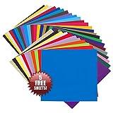 VINYL SELBSTKLEBEFOLIE 30.5 cm x 30.5 cm BÖGEN - 35er Packung- VIELE FARBEN - Perfekt geeignet für CRICUT, SILHOUETTE CAMEO, Stanzmaschinen, Folienschneider, Buchstaben, Wände, Aufkleber und DIY Dekoprojekte! BESTE FARBLICHE SORTIERUNG