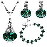 Klaritta S839 - Set composto da orecchini, bracciale e ciondolo, con pietra color smeraldo, decorazione motivo natalizio