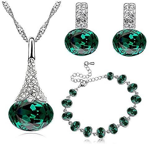 Klaritta S839 Parure en cristal avec collier, bracelet et boucles d