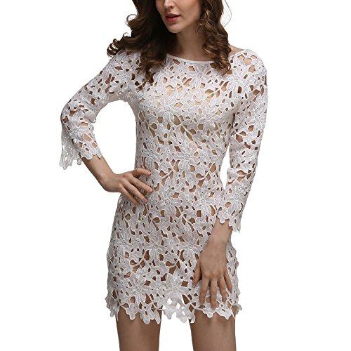 Frauen Mode Rundkragen Zum Schnüren Spitze Perspektive Hohl Bikini Bluse Beachwear Strandkleider Spitzenkleider Stil:4
