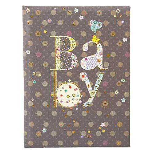 Goldbuch Babytagebuch, Romantic, 21 x 28 cm, 44 illustrierte Seiten mit Pergamin-Trennblättern, Kunstdruck mit Goldprägung und Relief, Schwarz, 11447