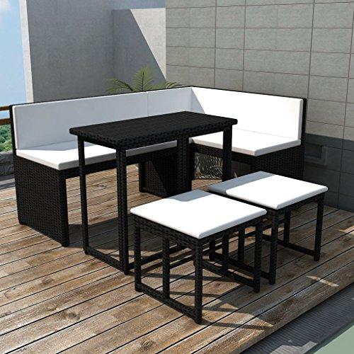 WEILANDEAL Gartensofa Set Ratan Kunstleder Schwarz 12-Teilig Set aus Edelstahl Abmessungen Ecksofa: 100 x 50 x 71 cm (Breite x Tiefe x Höhe)