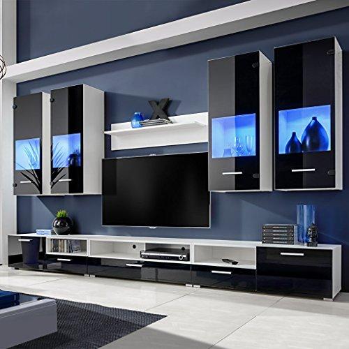 Festnight Meuble TV à vitrine murale Noir/Blanc avec lumière LED Bleu 8 Pièces