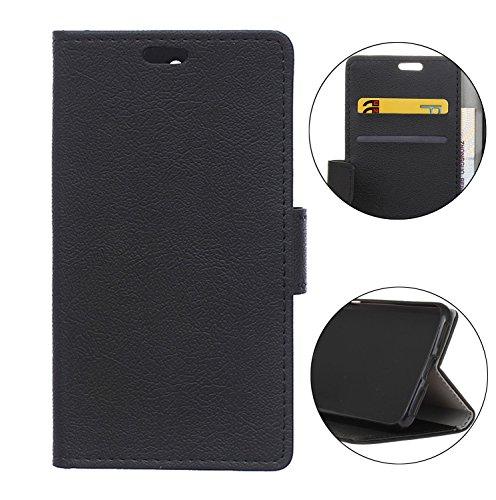 Sunrive Hülle Für DOOGEE BL5000, Magnetisch Schaltfläche Ledertasche Schutzhülle Etui Case Handyhülle Taschen Schalen Handy Tasche Lederhülle(C schwarz)+Gratis Universal Eingabestift