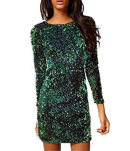 YaoDgFa Damen Paillettenkleid Minikleid Cocktailkleid Abendkleid Partykleider Etui Kleid mit Pailletten Langarm Rückenfrei Kurz, S, Grün