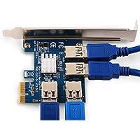 USB 3.0 Hub, Ubit PCI-E 1x a 4 puertos Tarjeta de adaptador elevador 16x Concentrador GPU USB3.0 para minería Bitcoin \ Litecoin \ ETH Coin (Diseño 4in1)