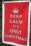 Keep Calm Krone Retro IT 'S ONLY Christmas Leinen Geschirrtuch NEU