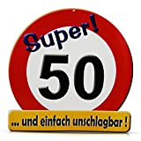 HC-Handel 913437 Riesen Schild Super 50 Verkehrsschild Geburtstag 50 cm