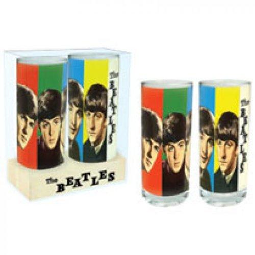 The Beatles - Four Colours 60er 70er Jahre Retro Rock Band Gläser 2er Set verpackt im stabilen Blisterkarton (Beatles Tasche)