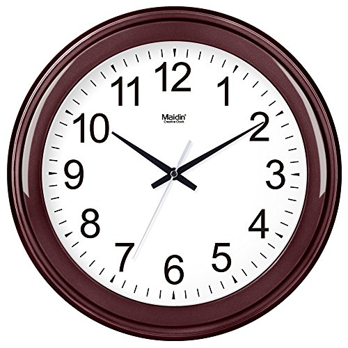Komo classico ed elegante il quarzo orologio da parete grande silenzioso sweep orologio da parete soggiorno tavolo rotondo creative semplice mute orologio al quarzo, 14 pollici, basic rosso vino