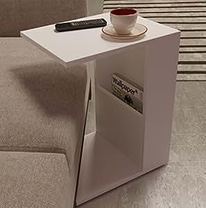 bono beistelltisch moderner couchtisch auf rollen in trendigem design mit ablagefl che wei. Black Bedroom Furniture Sets. Home Design Ideas