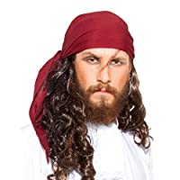 Pirate Medieval Renaissance Linen Triangle Bandana [C1418] [Red]