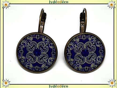 Lisbon lirón earrings Resin tiles portugal blue night bronze white christmas gift feast of mothers grandmothers personalized gift birthday wedding