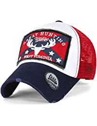 ililily GREAT Golfermütze Flicken klassischer Stil abgenutztes Aussehen Netz Baseball Cap Trucker Cap Hut