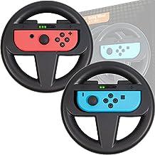 PACK DE DOS Volantes de Orzly para usar con los Joy-Con Switch – Pack de volantes NEGROS [con luz indicando jugador] para usar con los mandos Joy-Con de la Nintendo Switch
