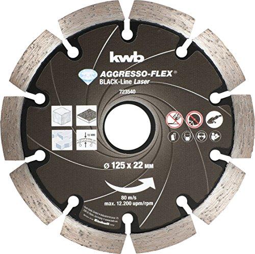 kwb Diamanttrennscheibe Black-Line 723540 (lasergeschweißt, segmentiert, 125 x 22 mm) u. a. für Einhell TC-AG 125