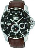 Seiko Herren-Armbanduhr XL Sportura Analog Automatik Leder SNP055P2