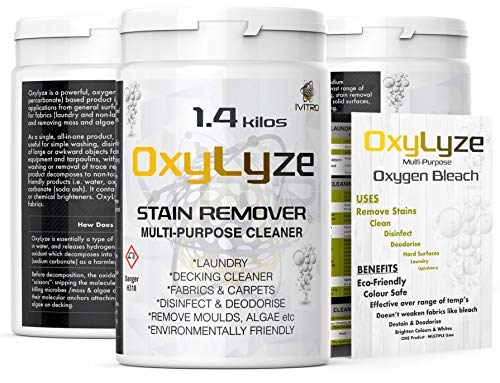 Oxygen Bleach Sodium PERCARBONATE Stain Remover - OxyLyze - DECKING Cleaner - Multiple Use Instructions - Deck Patio Cleaner , Mould and Algae Remover Laundry and General Cleaner - 1.4 Kilos