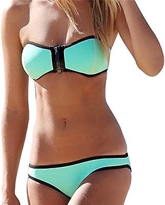 Eulla Mujer Bikini Dos Piezas Conjunto Bandeau Neopreno con cierre de cremallera Traje de Baño Ropa de Playa