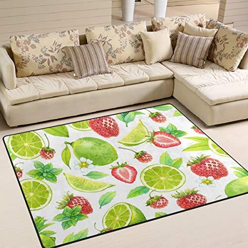 Weiche Fußmatten 7 'x 5' (80 x 58 Zoll) Teppiche Strawberry Orange Fruit rutschfeste Bodenmatte für Wohnzimmer Schlafzimmer (Orange Teppich, 5 X 7)
