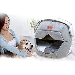 Kuuboo - Cama de perro o gato de felpa suave, casa cómoda lavable, extraíble, plegable para las cuatro estaciones. Saco de dormir, nido, cueva para papillón, pomeranian, teddy, guimba, mini perro